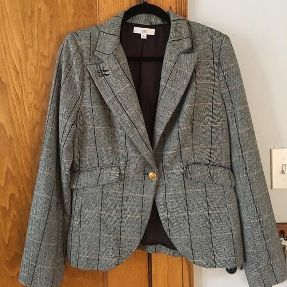 Ovi Jackets Coats Tweed Blazer With Leather Elbow Patches Poshmark