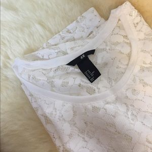 NWOT H&M sheer white lace top