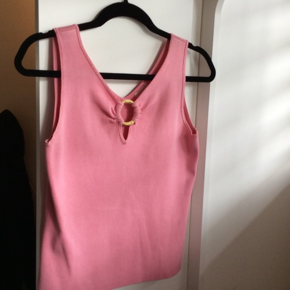 Artisan Tops - Pink silk sleeveless top with bamboo embellishment