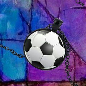 Jewelry - Soccer BallCabochon Pendant Necklace Black Tone