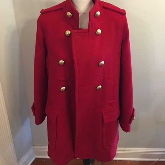 Via Spiga - Via Spaga red wool military style pea coat from ...