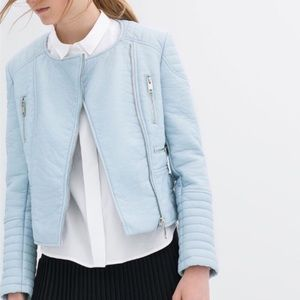 Zara baby blue moto leather jacket