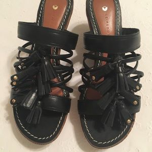 Shoes - Black wedge strappy sandals