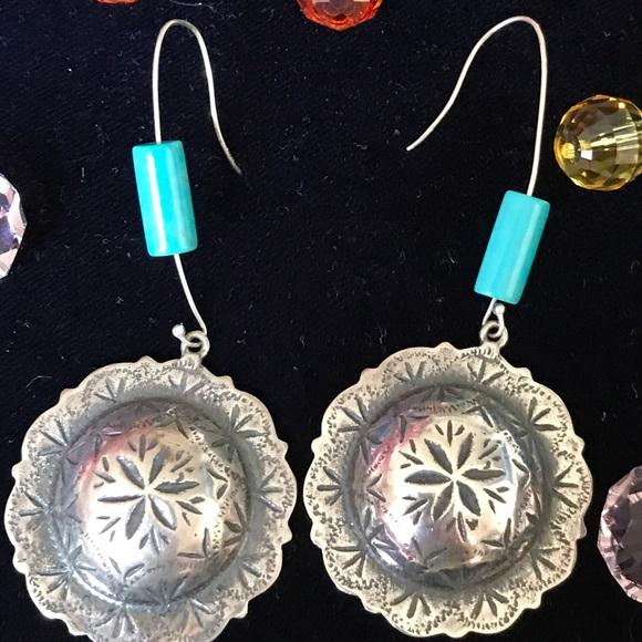 Sterling Silver Handmade Concho Earrings