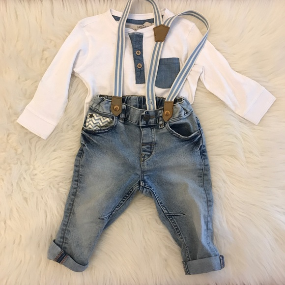 ce5254f0b H&M Bottoms | Hm Baby Boy Henley Cuffed Jeans Wsuspenders | Poshmark