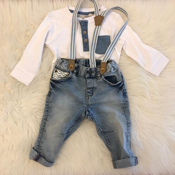 35f491a16 H&M Bottoms | Hm Baby Boy Henley Cuffed Jeans Wsuspenders | Poshmark
