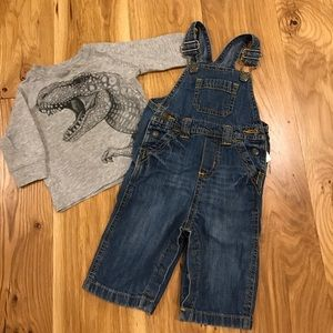 Overalls and long sleeve dino tee for baby
