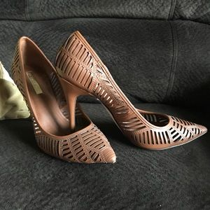 BCBGeneration Chestnut Laser Cut Pointed Stilettos