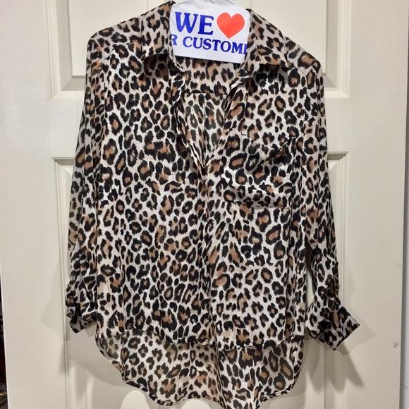 685309f5c318 H M Tops - Leopard print chiffon blouse