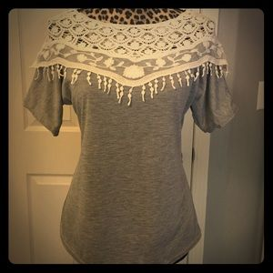 Crocheted detail tee