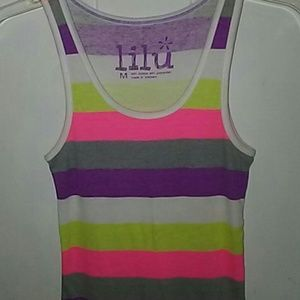 Lilu neon striped ribbed tank top Size M