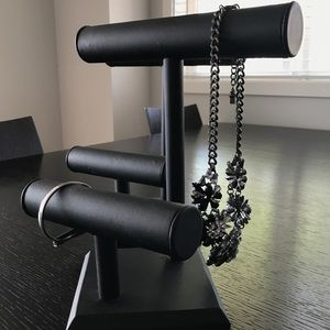 Pair of Black T-Bar Jewelry Stands