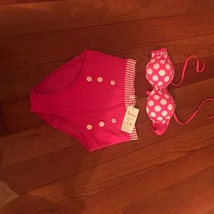 Retro high waist pink and white polka dot bikini