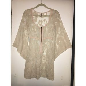 Vintage Free People Bell Sleeve Lace Dress XS
