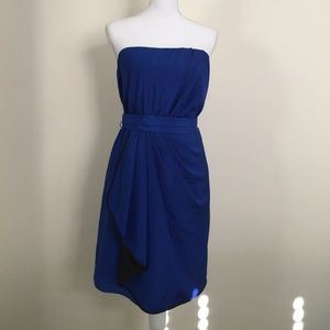 Express blue strapless dress with sash