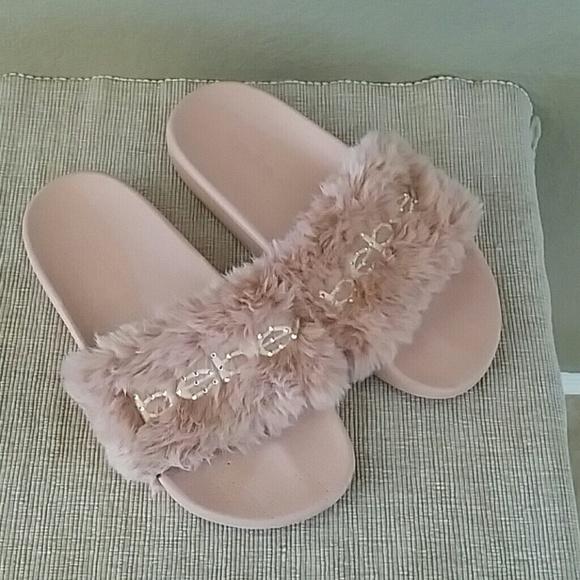 5a887d895a3b Bebe furiosa faux fur pink slides size 7