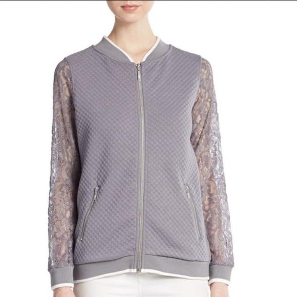 Kensie Jackets & Blazers - 🆕 Kensie grey quilted bomber with Lace sleeves L