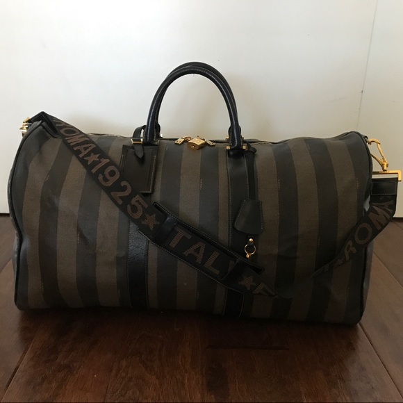 Fendi Bags   Striped Pequin Weekend Travel Duffle Bag   Poshmark ba400e1c78