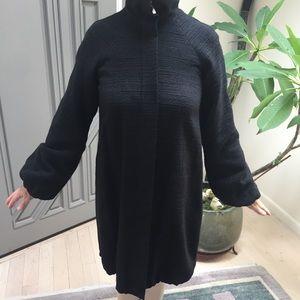 THEORY Long Black Wool Coat, Zipper Front, Sz S
