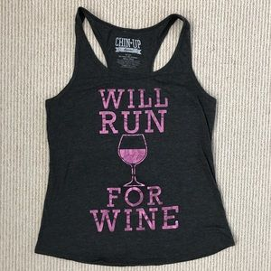 Tops - Will Run For Wine Graphic Tank