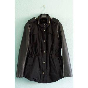 Zara | Faux Leather Sleeve Utility Jacket/Parka