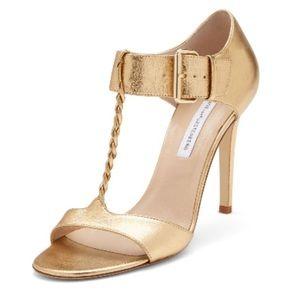 Diane von Furstenberg gold shoes