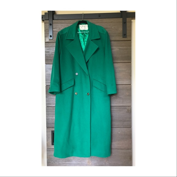 various kinds of various styles on feet shots of Emerald green cashmere trench coat