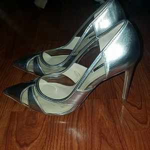 Zara 4in heels Silver with clear details Size 8