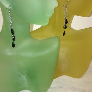 genuine onyx and sterling silver earrings