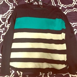 Navy and teal striped sweater