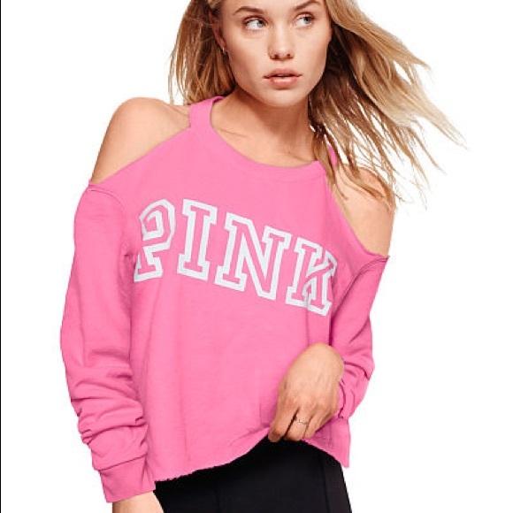 d8cfa6ce39c593 Pink VS cold shoulder sweatshirt. M 59a37e806d64bc30e5085bdc