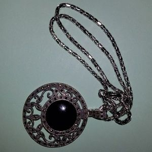 Black Stone Patterned Pendant