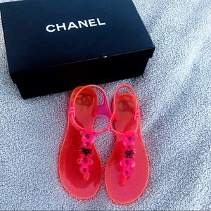4454f1618455 CHANEL Shoes - CHANEL Neon Pink Thong Flat Jelly Sandals