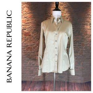 💸Banana Republic beige button up dress shirt sz 6