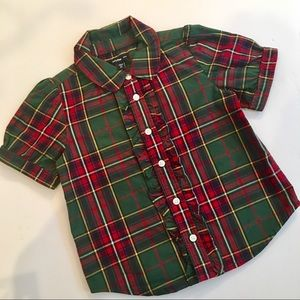 Baby Gap Girls Plaid Ruffle front Blouse Size 2T