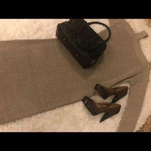 ASOS SZ M Cable-Knit cold shoulder Mid Calf Dress