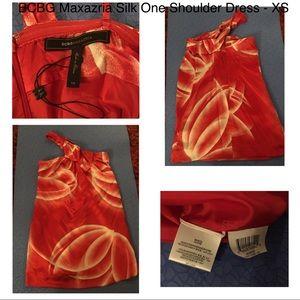 BCBG Maxazria Silk One Shoulder Dress - XS