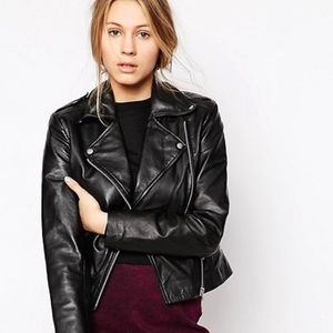 **ISO** BLK Olsen Leather Asymetric Biker Jacket