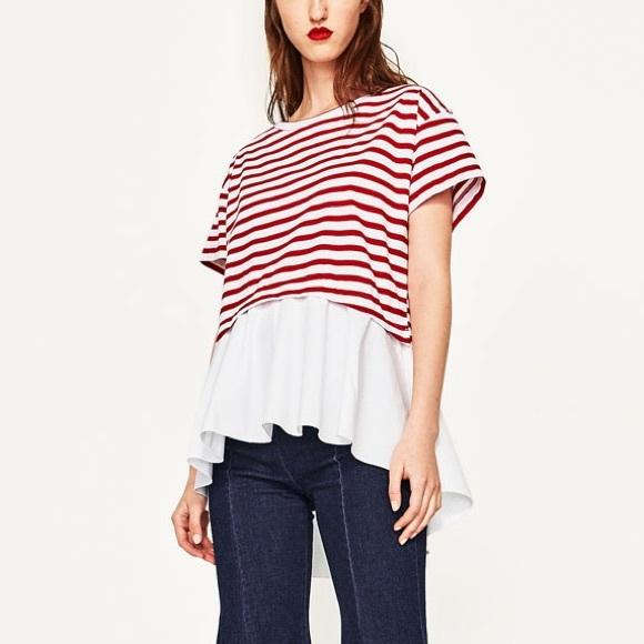 2ebcde3458 Zara Tops | Red Striped Oversized T Shirt W Frilled Hem | Poshmark