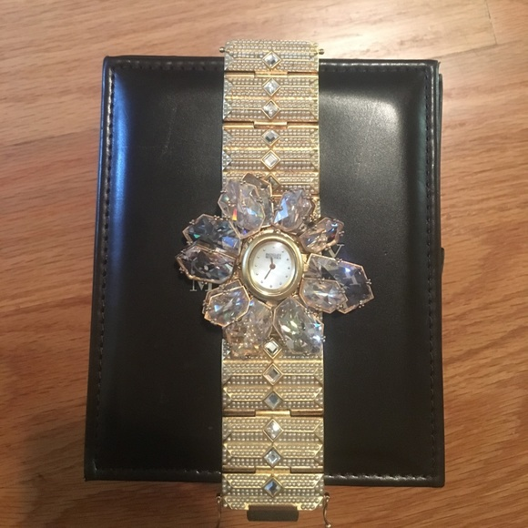 Badgley Mischka crystal statement watch