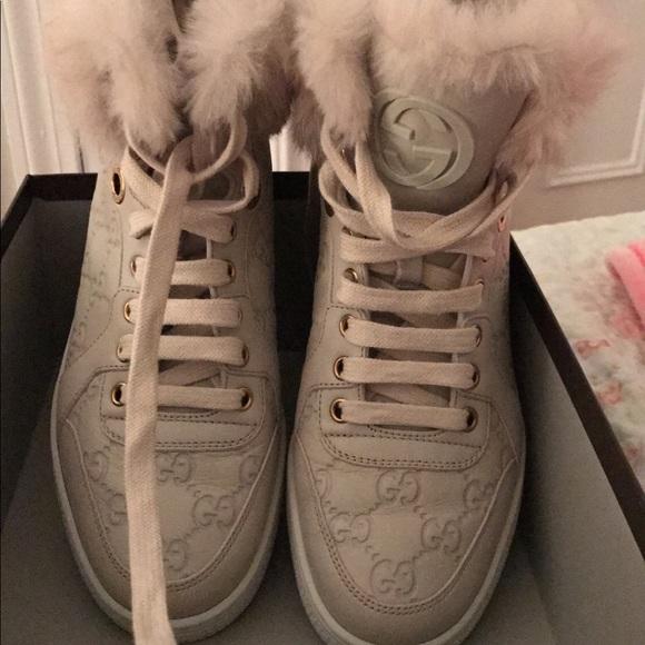 Gucci Shoes - Gucci Coda fur trim high top sneakers in cream 68f79729dac