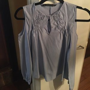 Zara light blue cold shoulder shirt size XS