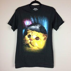 Space Cat black graphic t shirt