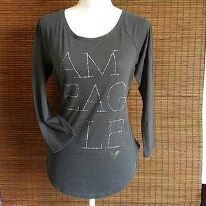 American Eagle Gray Long Sleeve Top