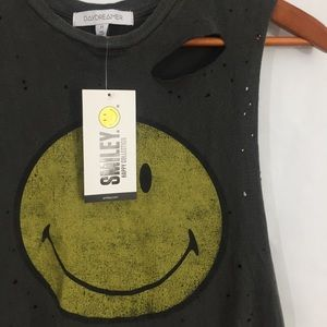 a7e33f1a0 Daydreamer Tops - Daydreamer distressed smiley face muscle tee