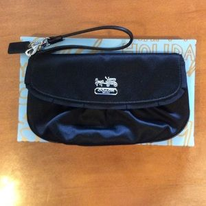 Coach satin black clutch