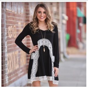Black Lace Embellished Dress