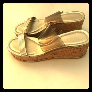 Donald J Pliner Wedge Platform Slip On Sandals 9.5