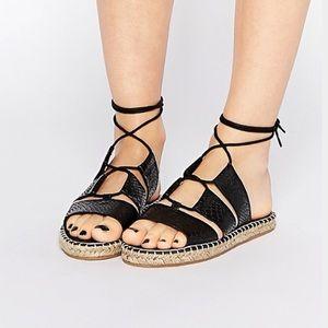 ASOS Jersey Island Tie Wrap Espadrilles Sandals