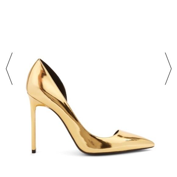 Saint Laurent Ysl Anja Gold Pumps